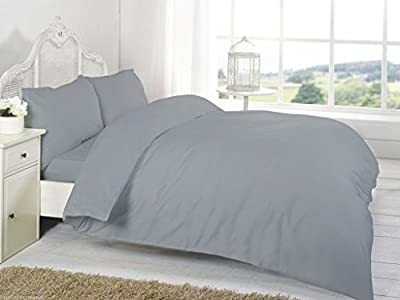 [hachette] 3PC 200TC [GREY SILVER/DOUBLE SIZE] 100% EGYPTIAN COTTON DUVET COVER BEDDING BED DUVET SET WITH PILLOWCASES 200 THREAD COUNT produced by HACH - quick delivery from UK.