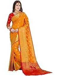EthnicJunction Booti Work Zari Butta Banarasi Silk Saree With Zari Thread Work Unstitched Blouse Piece(EJ1178-7971,Dark Yellow)