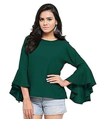 Serein Women's Top (Green top with Flute Sleeves) (X-Small)