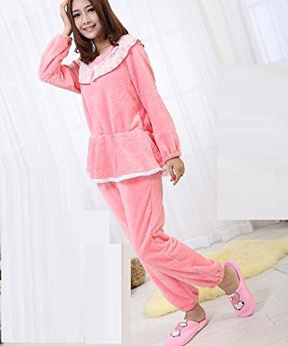 LJ&L Verdickter Flanell atmungsaktiver Zuhause Anzug passt hochwertigen Bademäntel Komfort Mode Dessous Pyjamas,Ms pink,M Ms Pink