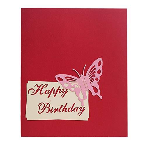 Biglietto di auguri di compleanno 3d 2 strati torta pop-up card con candela 3d carta scultura torta biglietto di auguri biglietto d'invito carta di compleanno per la celebrazione