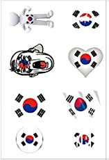 Ndier 2018Weltmeisterschaft Flaggen Korea Tattoo zur temporären Mode Koreanisch Flaggen Selbstklebend Body Face für die Fans von Fußball Schauen Fußball Sport