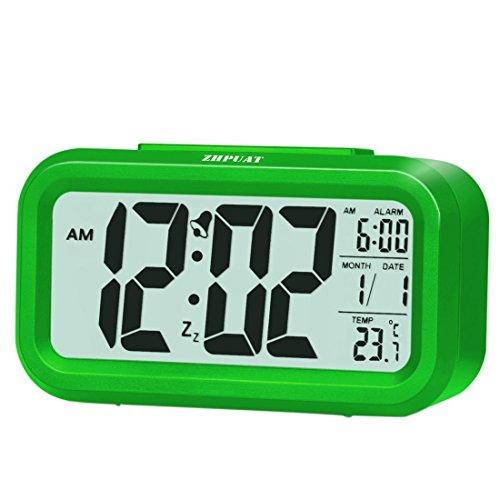 ZHPUAT Digital-Wecker Digitaluhr große LCD-Ziffern mit Hintergrundbeleuchtung Grün