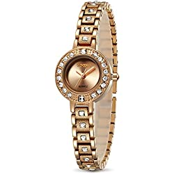 Time100 Fashion Diamond Round Rose Golden Dial Bracelet Ladies Watch #W50145L.03A
