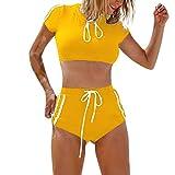 Damen Sport Split Bikini Fashion Strap Badeanzug(Gelb,S)