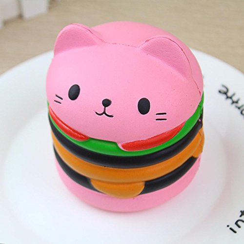 n Cat Hamburger Scented Slow Rising Exquisite Kid Soft Toy (Rosa) (Hamburger Hund Kostüm)