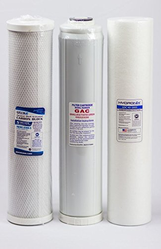 Big Blue Water Filters - Sediment/GAC/Carbon (Pack of 3) | 4.5 x 20 by LiquaGen Water -