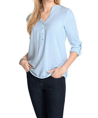 ESPRIT Damen Regular Fit Bluse 995EE1F900, Blau (light blue), 40 (Saum Rock Falte)