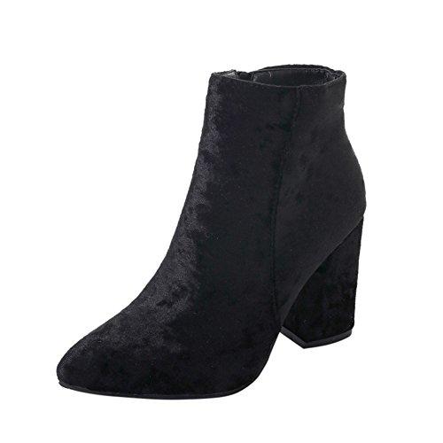 Sonnena Damen Elegant Suede Faux Stiefel High Heels Spitz Toe Martin Stiefel Schuhe Casual Niedrige Schlauchstiefel Outdoor Booties Stiefeletten 35-41