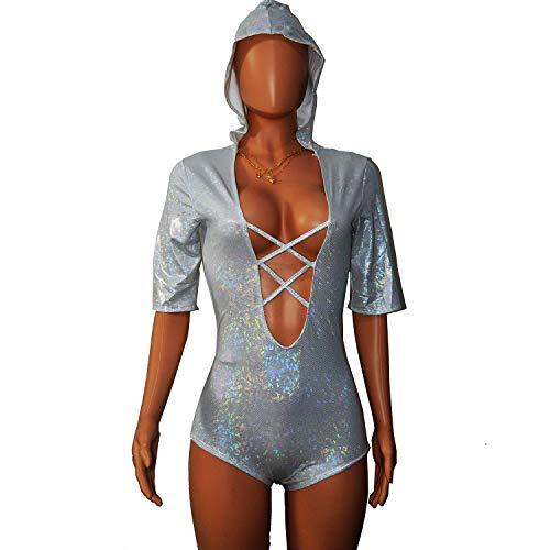 Burning Man Holografischer glänzender Disco Strappy One Piece Rave Body für Frauen (XL, weiß)
