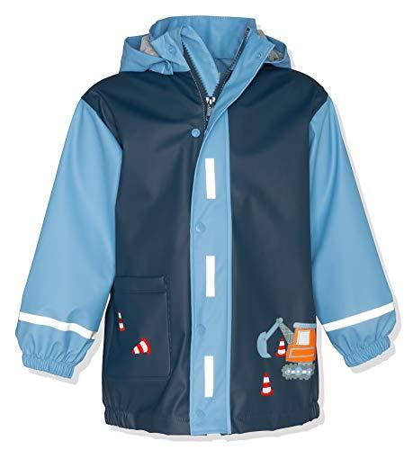 Playshoes Baby - Jungen Regenjacke Regenmantel Baustelle, Blau (Bleu 17), 86