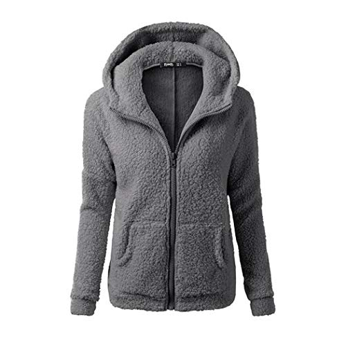 mymotto Femme Manches Longues Manteau à Capuche Décontracté de l'hiver en Laine Chaude et Mode Veste (XL, Gris foncé)