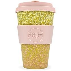 Ecoffee Cup Taza de café de bambú reutilizable Miscoso Primo, 400 ml, color rosa y dorado