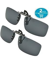 Clip on Sunglasses Polarized Lens, Splaks 2-Pack Unisex Sunglasses Polarized Frameless Rectangle Lens Flip Up Clip on Prescription Sunglasses Eyeglass Filter Strong Light-2 black