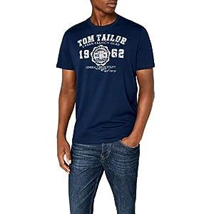 TOM TAILOR Herren T-Shirt Basic Rundhals Slogan