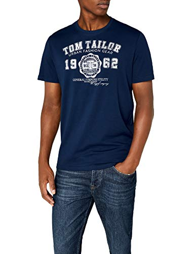 TOM TAILOR Herren Logo T-Shirt, Blau (Estate Blue 6845), Large