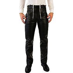 Bockle® Holanda carpintero Pantalones de cuero negro hombres, Size: W33/L34