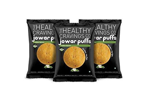 Healthy Cravings Premium Crunchy Jowar Puffs (6 Packs) – Indian Spices (150g)