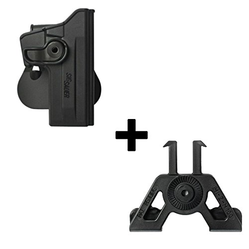 IMI Defense Tactical retention rotating 360 roto paddle polymer Holster + Molle adapter attachment for Sig Sauer 226 (9mm/.40/357), P226 Tactical Operations (Tacops) pistol handgun (Machine Gun Airsoft Holster)