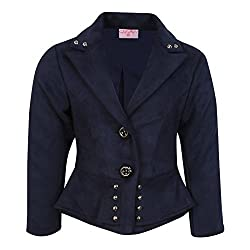 Cutecumber Girls Suede Embellished Navy Coat AM-CC877A-NAVY-20