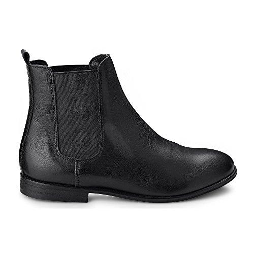 Cox Damen Damen Chelsea-Boots in Schwarz aus Leder, Stiefelette mit Stretch-Einsatz und höherem Schaft Schwarz Leder 39