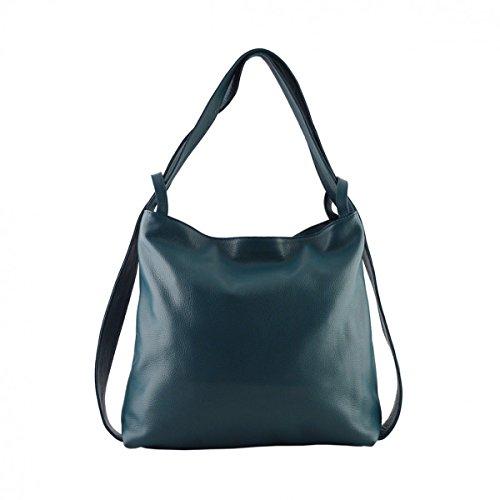 Sac Shopper Et Sac à Dos En Cuir Véritable Couleur Bleu Pétrole - Maroquinerie Fait En Italie - Sac Femme