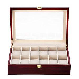 Uhrenbox Herren für 12 Uhren Holz Uhrenkasten Schmuckkasten Damen