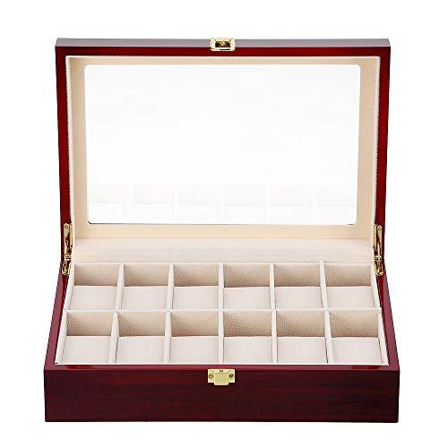 Présentoir Boîte Coffret à Montre Bijoux Coffret de Rangement avec Serrure Ecrin Homme Femme Bois (12 grilles)