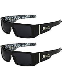2er Pack Locs 9058 X08 Sonnenbrillen Motorradbrille Sportbrille Radbrille in den Farben schwarz und weiß