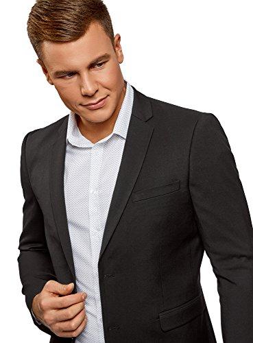 oodji Ultra Herren Taillierter Klassischer Blazer Schwarz (2900N)