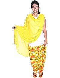 Womens Cottage Women's Shibori Printed Cotton Semi Patiala Salwar & Matching Chiffon Dupatta With Lace - B06VXGJ5T6