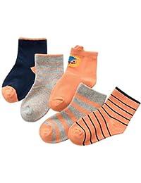 aivtalk-lot de 6 calcetines corto con encaje de algodón rayas, diseño con oso