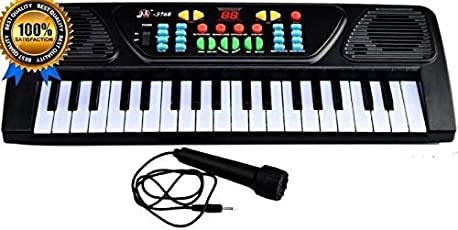 IndiPlay 37 Keyboard Piano with Recording Facility, Mic and Charger (Multicolour)