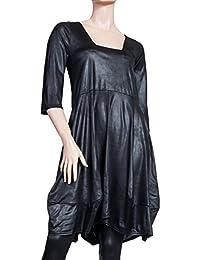 Ballondesign Tunika Kleid Lederoptik mit Trapez-Ausschnitt schwarz