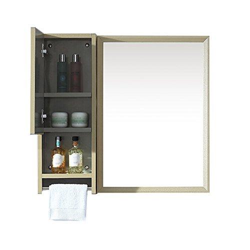 Moderner Schminkspiegel (Bathroom mirror Badezimmerspiegel HD Edelstahlkante quadratischer Schminkspiegel Speicherspiegelschrank Gold 50 * 70cm (Farbe : Golda))