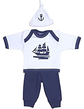 BabyPrem Frühchen Hosen Langärmeliges Oberteil und Hut Baby Kleidung Jungen Dunkelblau 32-50cm