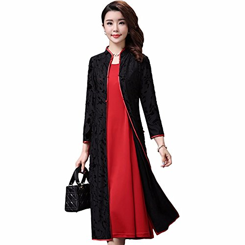 Xuanku Chinese Female Cardigan Two Piece Suit Cheongsam Dress In Long Sleeved Knee
