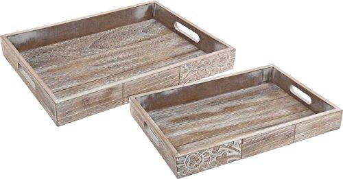 Serviertablett aus Holz   2er Set