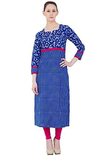 zoeyam's ZOEYAM round neck full sleeves royal blue cotton block printed kurti