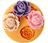 Allforhome 3-er Silikon-Form zum Backen und Basteln, Mini-Blume, für Zuckerguss- / Kuchen-Deko, Gießharz, Fondant, 1,8cm