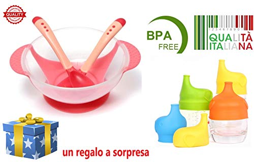 Stoviglie Set Pappa Posate Bambini Morbide Adatte per la Dentizione Scodella con Ventosa Antirovesciamento Bicchiere Universale Salvagoccia Silicone )