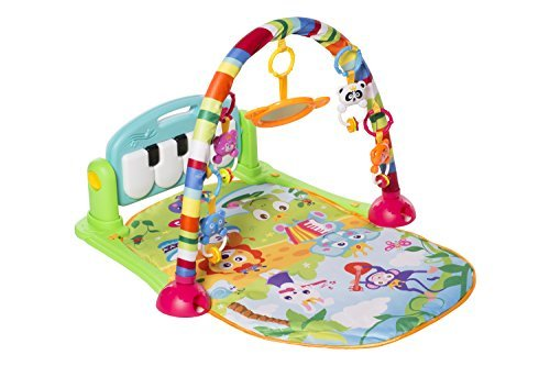 MooToys Kick and Play Newborn Toy with Piano for Baby 1-36 Month, Lay and Play, Sit and Play, Activity Toys, Play Mat Activity Gym for Baby. Blue