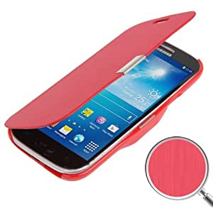 Brushed Texture Horizontal Flip Magnetic Buckle Leather Protective Case for Samsung Galaxy S4 Mini i9190 (Red)