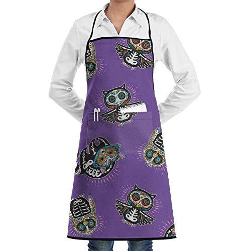 xcvgcxcvasda Einstellbare Latzschürze mit Tasche, Penguin Sugar Skulls Adjustable Schürze with Pocket & Extra-Long Ties, Men and Women Kitchen Schürze for Cooking, Baking, Crafting, Gardening, BBQ