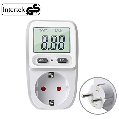 Gifort Energiekostenmessgerät Digitaler Energiekosten Messer Leistungsmessgerät Strommessgerät Elektrizitäts Analysator Standby Verbrauchsmessung mit Überlastsicherung ( Weiß ab 0,2W bis 3680W ) -