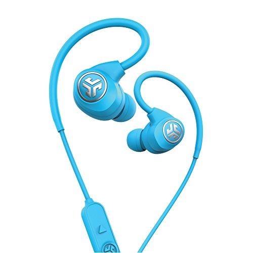 JLab Audio Epic Sport Wireless In-Ear–blau–Active Lifestyle 12Stunde Akku Life Bluetooth 4.2mit aptX-Technologie IP66Schweiß-Built in Mikrofone für Handy Anrufe Extra Gel Tipps + Cush Flossen (Jlabs Bluetooth)