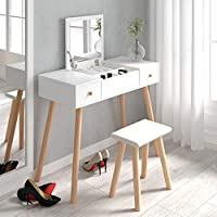 Beliwin Dressing Table Girl Women White with Stool and Mirror, Makeup Desk Set Large Storage 2 Drawers