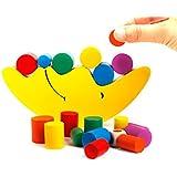 Bloques apila y descubre Bloques de Construcción infantiles de Juguete Equilibrio de Aprendizaje Temprano Del Bebé De Madera Juguetes Educativos (Amarillo)