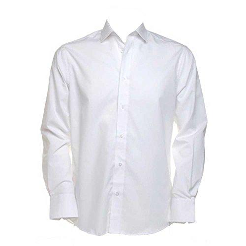 Kustom Kit Tailored Mens Colours Long Sleeved Formal Business Work Shirt white