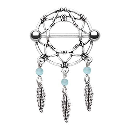 Covet Jewelry - Anillo clásico atrapasueños con Plumas para pezón
